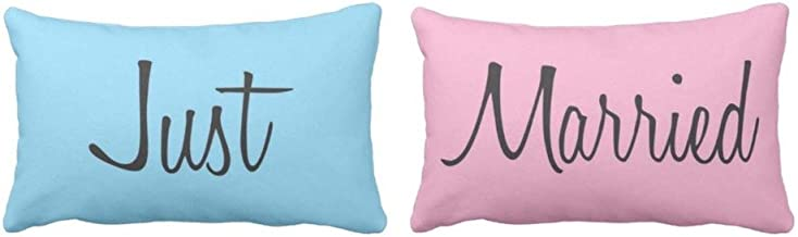 Yaya Cafe Gift Just Married Glazed Cotton Pillow Covers, 27x17 inches (Pink, Blue)