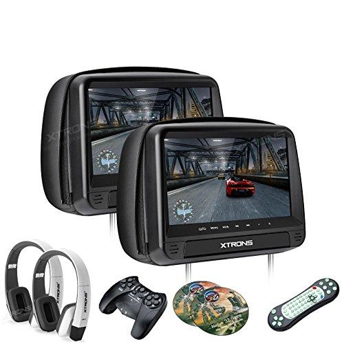 XTRONS® 2X 9 Auto Kopfstütze HD TFT Diaplay DVD CD Player HDMI USB SD Port FM/IR Touch-Button mit 2 weiß Kopfhörer