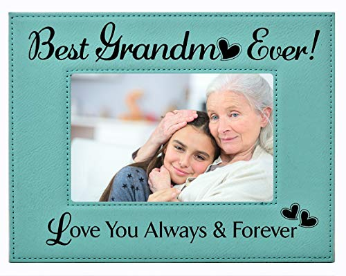 GIFT GRANDMA PICTURE FRAME ~ 'Best Grandma Ever - Love You Always & Forever' Engraved Leatherette...