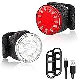 USB wiederaufladbares LED-Fahrradlichtset, superhelle Fahrradlichtkombination vorne und hinten, wasserdichtes IPX4-Mountainhelm-Fahrrad-Frontlicht und Rücklichtset (männlich und weiblich) (6 Modi)