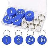 BIGKASI 30stk Blau Nummeriert Schlüsselanhänger 1-30 Nummer Schlüssel Anhänger ID Tags Key Chain mit Ring aus Acryl zum Organisieren und Sortieren Zahlen für Hotels Saunen Büros Schulen Fitnessstudio
