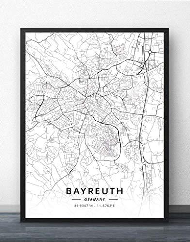 QYQMYK Leinwand Bilder,Bayreuth Deutschland Stadtplan Drucke Poster Wandmalereischwarz Weiß Kunst Malerei Rechteck Bilder Pop Kunstwerk Für Wohnzimmer Schlafzimmer Home Decor, 50X70Cm/19.68X27.55 In
