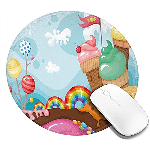Ronde muismat, dessert land met regenboog snoepjes lolly bomen cupcake bergen cartoon, antislip gaming muis mat