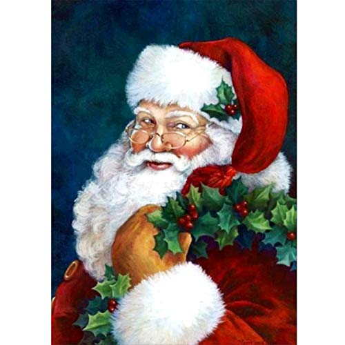 MXJ DIY 5D Diamond Painting by Number Kits Full Round Drill Rhinestone Picture Art Craft for Home Wall Decor Santa Claus 12x16In