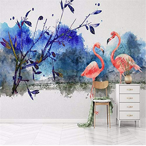 Wuyii Maak elk mogelijke muurschildering behang Nordic Retro handgeschilderd Flamingo-landschapsachtergrond fotobehang bijzonder aan 250 x 175 cm.