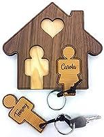 Alles an seinem Platz und nie wieder auf Schlüsselsuche gehen! Mit diesem Schlüsselbrett in Hausform aus Walnuss inkl. Schlüsselanhänger-Set aus Zeder mit Wunschnamen (z.B. Tommy + Carola) hat jeder Hausschlüssel dank individueller Gravur seinen eige...
