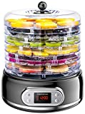 Elechomes Food Dehydrator with Fruit Roll Sheets, 6 Trays Fruit Vegetable Nuts Dryer, Digital...