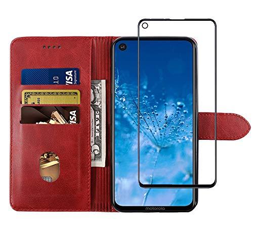 NOKOER Leder Hülle für Motorola Moto One Action, [2 in 1] All Inclusive Flip Leder Hülle + Panzerglas Schutzfolie Kompatibel, 3 Kartenfach Halterungs Funktion Handyhülle - Rot