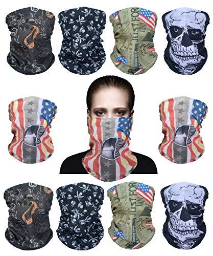 Sunland Headband Skull Bandana Scarf Headwrap Neck Gaiter 10 Pack - Outdoor Sport for Running, Fishing, Cycling