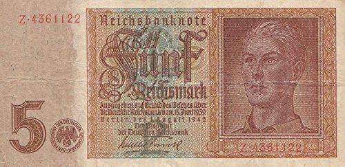 Deutsches Reich Rosenbg: 179a, 7stellige Kontrollnummer gebraucht (III) 1942 5 Reichsmark (Banknoten für Sammler)