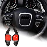 AIRSPEED Carbon Fiber Steering Wheel Paddle Shifter Extensions Cover Accessories for AUDI A4 A5 A6 A8 Q5 S5 S6 RS6 Q7 (Black)