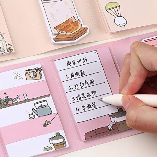 260 folhas Multi-Fold Sticky Notes Encantador dos desenhos animados Nota Post-it Memo Plano diário para fazer a lista Bloco de notas Fácil de colar para uso doméstico na escola
