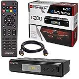 HB-DIGITAL Kabel Receiver Kabelreceiver - DVB-C Set: Opticum HD C200 Receiver für digitales Kabelfernsehen mit Aufnahmefunktion PVR (HDMI, SCART, USB 2.0, Mediaplayer) + HDMI Kabel