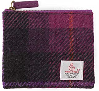 Harris Tweed Coin Purse Small Money Pouch With Zipper For Men Women (Magenta)