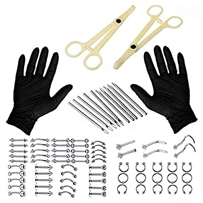 Unihubys Piercing Kit - 90PCS Professional Body Piercing Kit Surgical Steel 14G 16G Piercing Needles Piercing Clamps Gloves Tongue Tragus Nipple Lip Nose Ring for Nose Piercing Kit (90PCS)