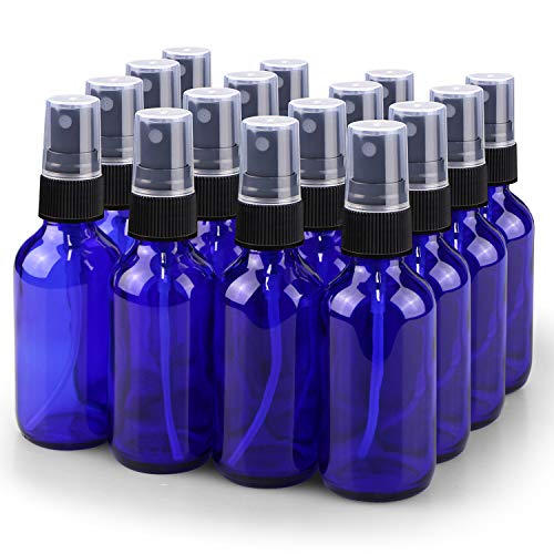 Spray Bottle, Wedama 2oz Fine Mist Glass Spray Bottle, Little Refillable Liquid Containers for Watering Flowers Cleaning(16 Pack, Blue)