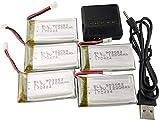 F-Mingnian-rsg Drone Batería 3.7V 1200mAh Actualización Batería de polímero de Litio 5pcs+1 PCS Batería Cargador Duradero para SYMA X5SC X5SW X5SC-1 RC Quadcopter Drone