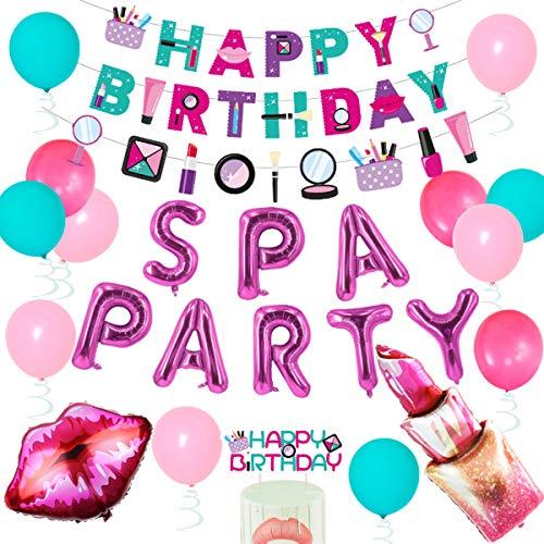 Spa Party Dekorationen für Mädchen – Make-up Happy Birthday Banner, Kuchen Topper, Red Kissy Lips Lippenstift Luftballons für Frauen Salon/Nagel/Spa/Glamour Geburtstag Party Supplies