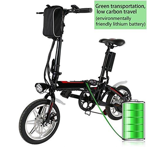 Lonlier Mini bicicletta elettrica pieghevole da 14 pollici con batteria Lithium-Ion