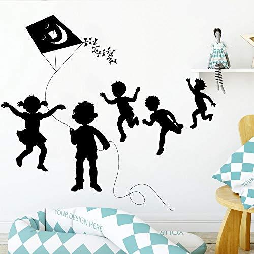 Blrpbc Adhesivos Pared Artístico Flying Kite Niños Vinilo Autoadhesivo Nursery Kids Room Ventana Puerta Decoración de la Pared 54x50cm