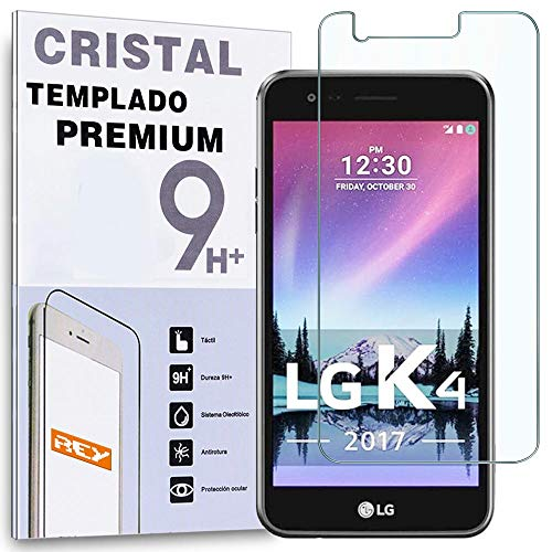 REY Protector de Pantalla para LG K4 2017, Cristal Vidrio Templado Premium