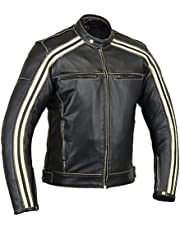 Bikers Gear UK Retro Negro Cafe Racer El Bonnie 100% Bovine Leather Moto Jacket CE Blindados–Color Marfil Rayas