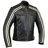 Australian Bikers Gear  Retro Style 'The Bonnie' - Chaqueta de moto, Negro / Blanco, 3XL