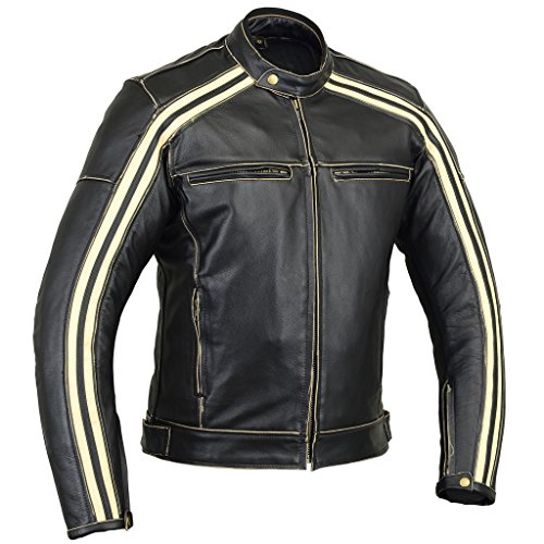 Australian Bikers Gear  Retro Style 'The Bonnie' - Chaqueta de moto, Negro / Blanco, S