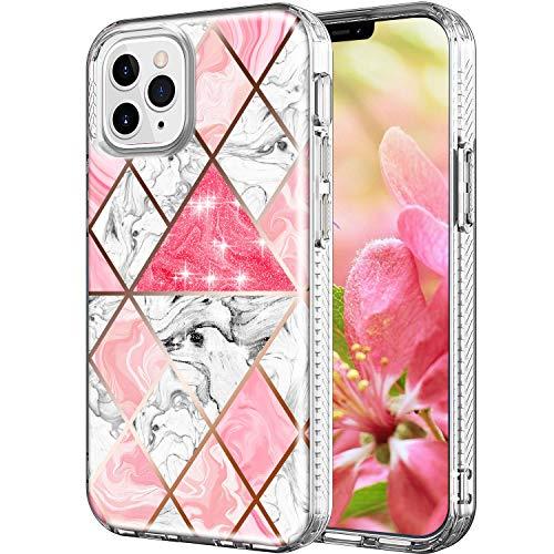 Shinyzone Hülle für iPhone 12 Mini 5.4 Zoll,Transparent Glitzer Marmor Stoßfeste rutschfest Bumper TPU Klar Kristall Durchsichtige Ultradünn Schutzhülle für iPhone 12 Mini 5.4 Zoll