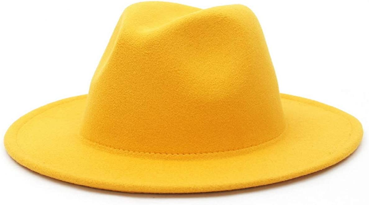YABINA (TM) Women Lady Retro Wide Brim Floppy Panama Hat Wool Felt Fedora Hat