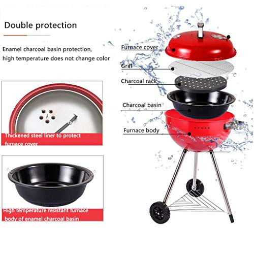 51ot+8s0f2L. SL500  - M-YN Tragbarer Holzkohlegrill Edelstahl Barbecue Grill Smoker Holzkohlegrill for Camping Picknick im Freien Garten-Party Grill BBQ, (Color : Red)
