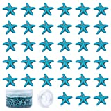 SUNNYCLUE 1 Box 160~164Pcs Starfish Turquoise Beads Charms Carved Spacer Beads with 10m Elastic Thread for Necklace Bracelet Earring Charms DIY Jewerly Making