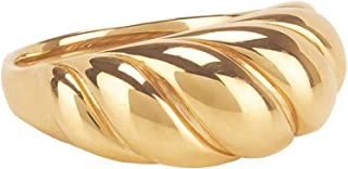 VLINRAS 18k Gold Croissant Dome Signet Ring for Women Minimalist Twist Chunky Ring