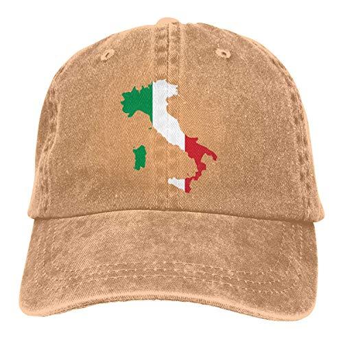 DAIAII Herren Baseball Caps,Hüte, Mützen, Classic Baseball Cap, Italia Italy Italian Map Men Or Women Adjustable Yarn-Dyed Denim Baseball Cap Hiphop Cap