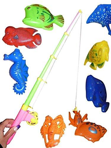 Ikumaal A95 Tolles 11 teiliges Angelspiel mit großen Tieren in praktischer Transportbox! Mit Magneten...Angelspaß Nicht nur für Kinder!