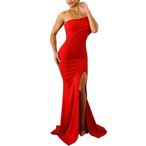 27e7d12cbe5 ZKESS Women s Off The Shoulder One Sleeve Slit Maxi Party Prom Dress