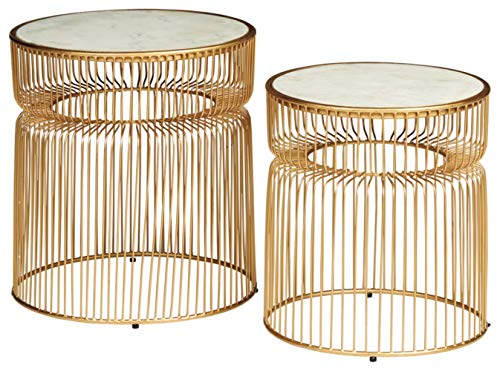 Signature Design by Ashley Vernway Accent Table Set (2/CN), White/Gold Finish