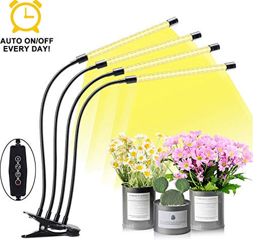 EMMMSUN Grow Light for Indoor Plant, 60W Auto ON/Off Timer 4-Head LED Grow Light,Plant Light with 3/6/12H Timing & 5 Dimmable Levels for Hydroponics Succulent Growing (Yellow)