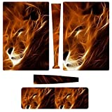 PS5 Skins and Wraps Fire Art Lion PS5 Console Skin Dualsense Controller Cover for Playstation5 Skins Set Anti-Slip Protection Digital Edition for Kids Girl