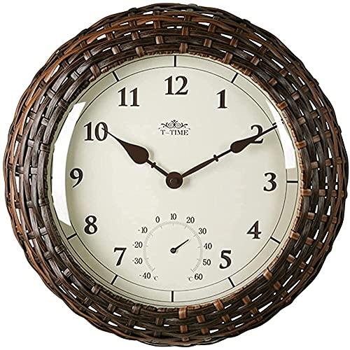 tuobaysj Reloj De Pared Reloj De ParedJardín De Estilo Europeo Termómetro De Ratán De 14 Pulgadas Mute Modern Mute Adornos Creativos