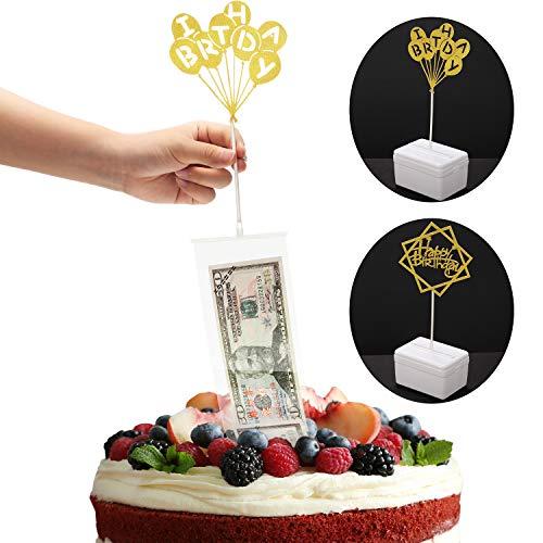 Kuchen Geburtstag Spardose Set, Geburtstag Kuchen Topper und Transparente Taschen für Geburtstag Party Kuchen Größe in 8 Zoll oder Größere Dekorationen Bedarf