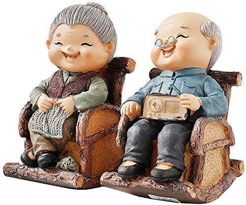 ZGYQGOO The Happy Mature Couple, Garten Harz Handwerk, Miniatur bemalte Figur, Innen- / Außendekoration, auch als Geschenk für Vater/Mutter/Opa/Oma,D