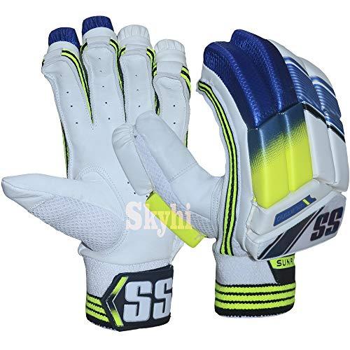 Skyhi SS Cricket Batting Gloves Mens, Youth, Boys,Right Hand and Left Hand Batting Glove (Color May Vary) (Platino, Mens Right Hand)