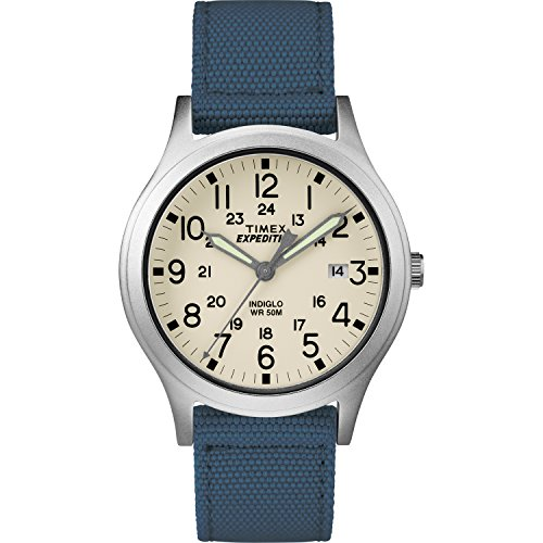 Timex Unisex TW4B13800 Expedition Scout 36mm Blue/Natural Nylon Strap Watch