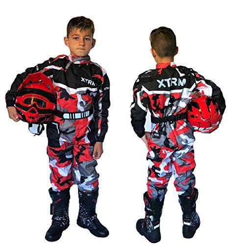 XTRM Kart Suit Camo Rojo Niños Motocicleta Off Road Pit Mini Dirt MTB Montar Bici Ropa (YXL (8-9yrs))