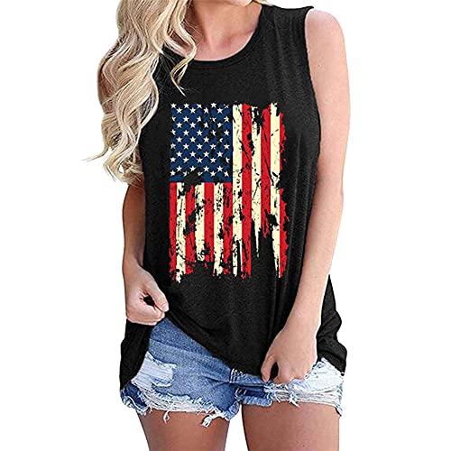 Camiseta para Mujer Camisetas sin Mangas para Mujer Camiseta sin con Bandera Estadounidense y túnica con Escote Redondo Tops Sudadera de Manga Corta con Cuello Redondo Camisa Jumper Ladies Loose Fit