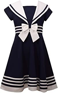 Girls' Big Fit and Flare Nautical Dress