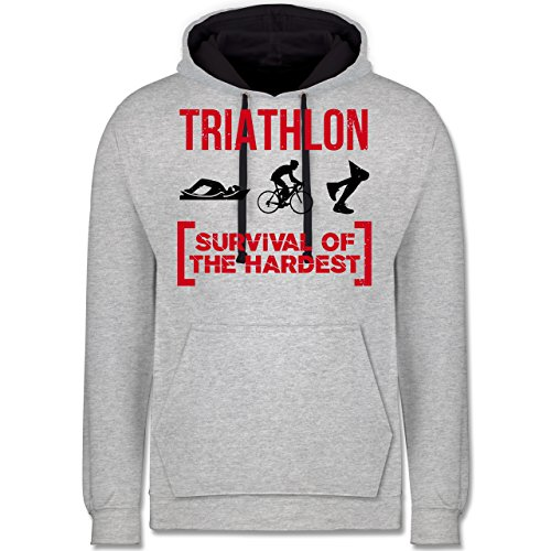 Sonstige Sportarten - Triathlon - Survival of The Hardest - L - Grau meliert/Navy Blau - Hoodie Maenner - JH003 - Hoodie zweifarbig und Kapuzenpullover für Herren und Damen