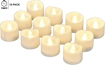 eLander LED Tea Lights Flameless Candle with Timer, 6 Hours on and 18 Hours Off, 1.4 x 1.3 Inch, Warm White, [12 Pack]
