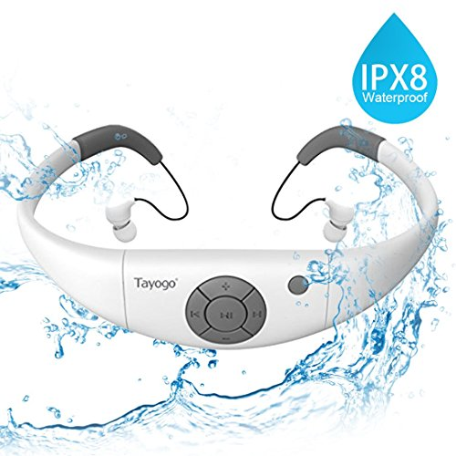 Tayogo Lettore MP3 Subacqueo Nuoto Cuffie Nuoto Auricolari Piscina 8GB Disco U Rimovibile per Nuoto Sport
